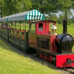 This miniature railway carries visitors to Blenheim on a shuttle between the house and the Pleasure Gardens